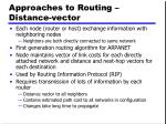 approaches to routing distance vector