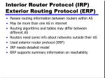 interior router protocol irp exterior routing protocol erp