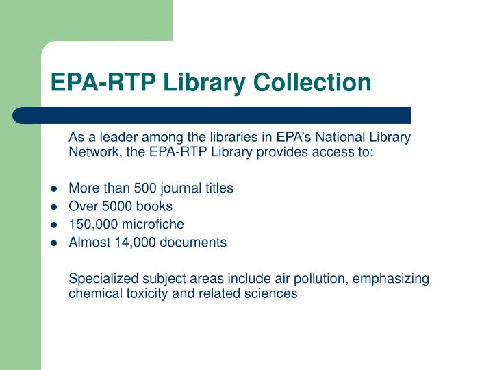 EPA-RTP Library Collection