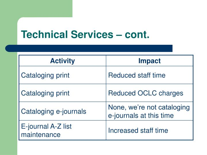 Technical Services – cont.