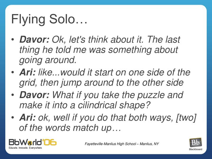 Flying Solo…