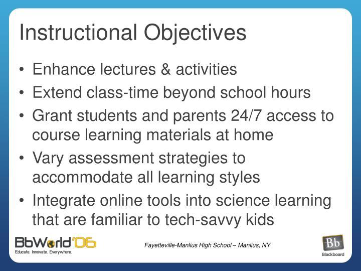 Instructional Objectives