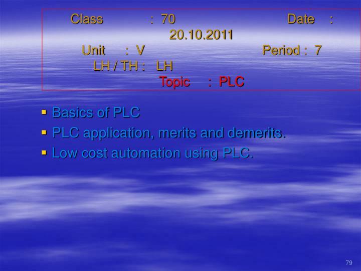 Class   :  70Date    :  20.10.2011