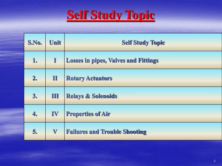 Self Study Topic