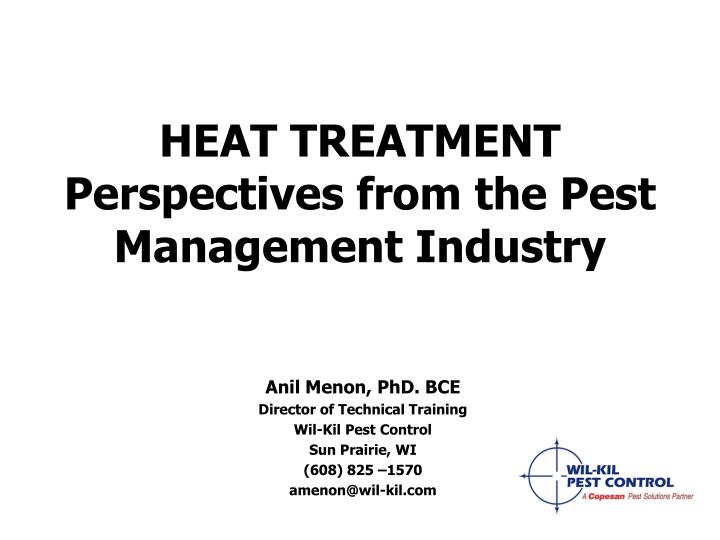 heat treatment perspectives from the pest management industry n.