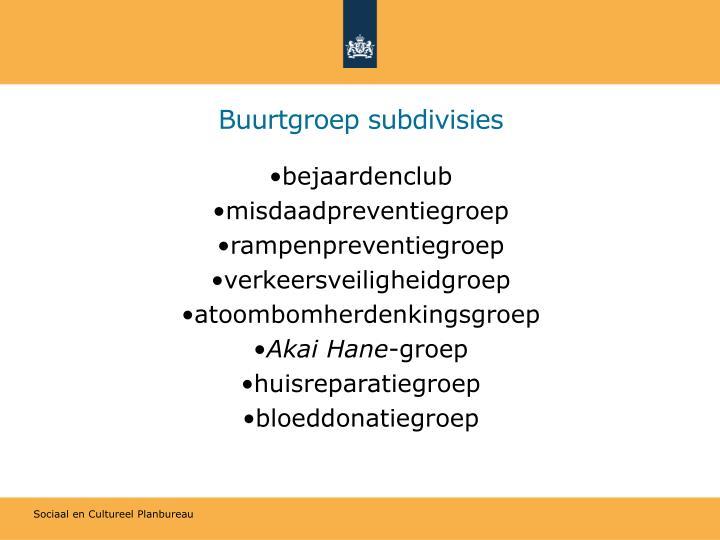 Buurtgroep subdivisies