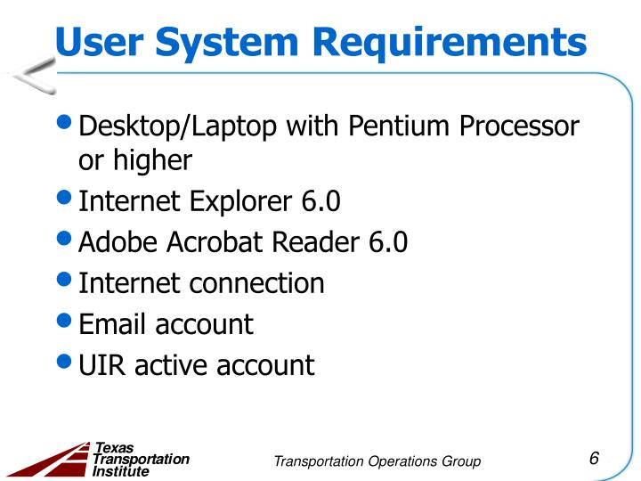 User System Requirements