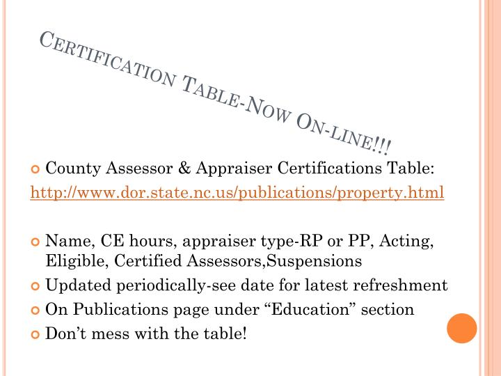 Certification table now on line