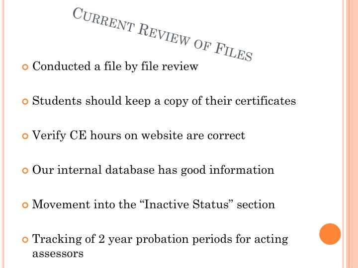 Current Review of Files
