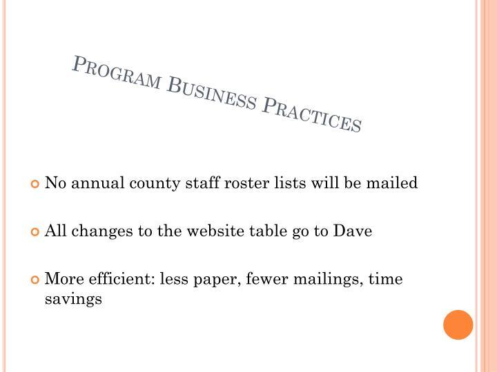 Program Business Practices