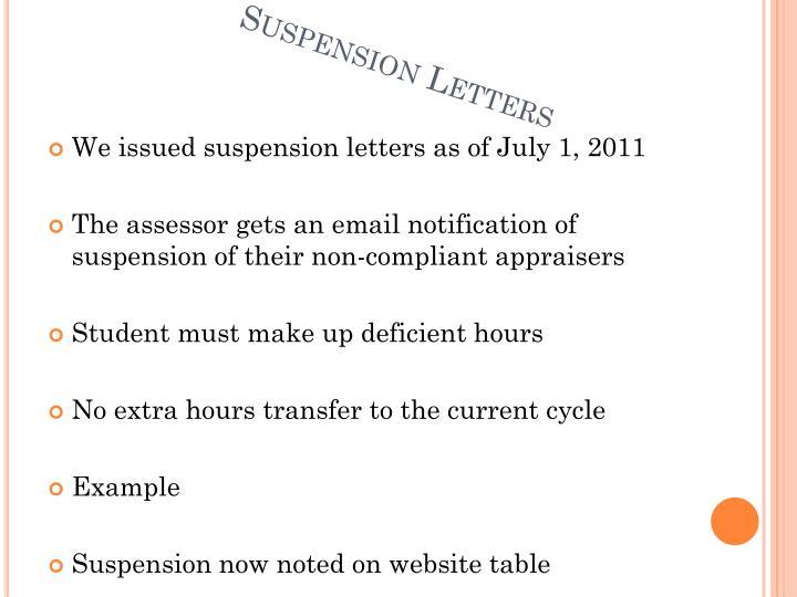 Suspension Letters