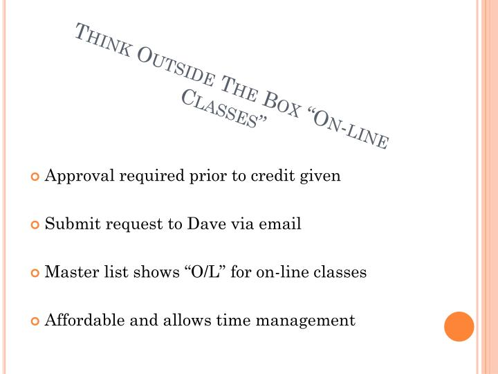 """Think Outside The Box """"On-line Classes"""""""