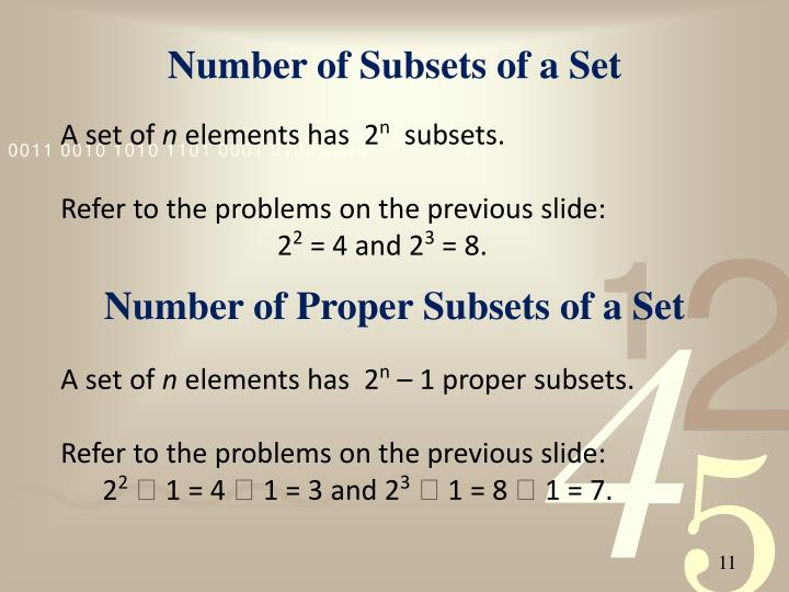 Number of Subsets of a Set