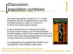 discussion population synthesis