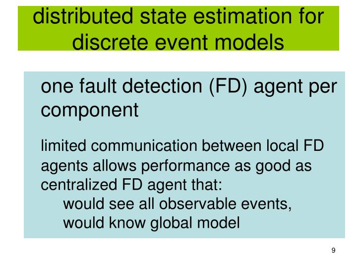 distributed state estimation for discrete event models