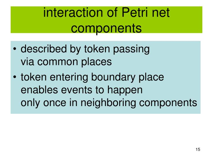 interaction of Petri net components