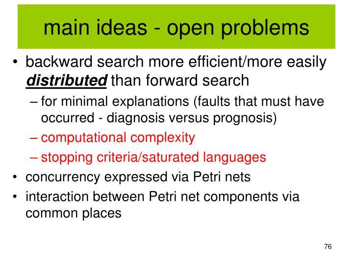 main ideas - open problems
