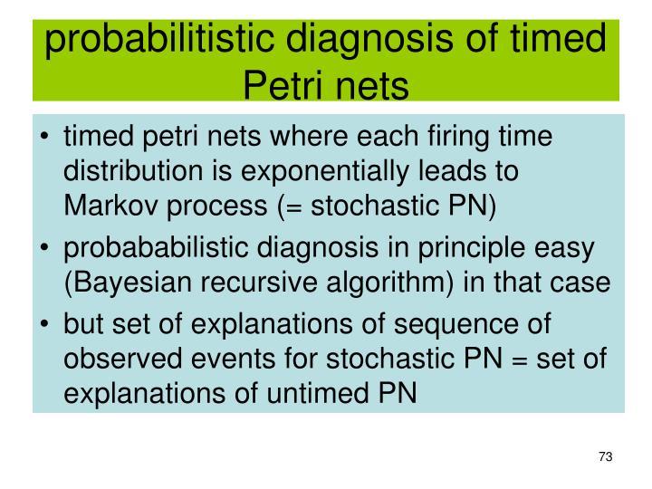 probabilitistic diagnosis of timed Petri nets