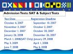 admission tests sat subject tests
