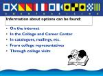 information about options can be found