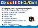 what resources are available to students in the mhs college and career center