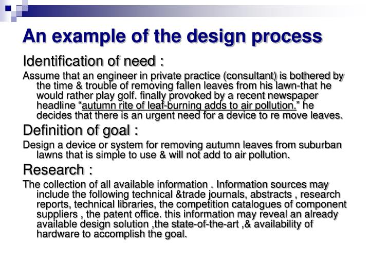 An example of the design process