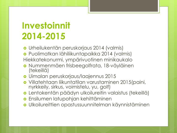 Investoinnit 2014 2015