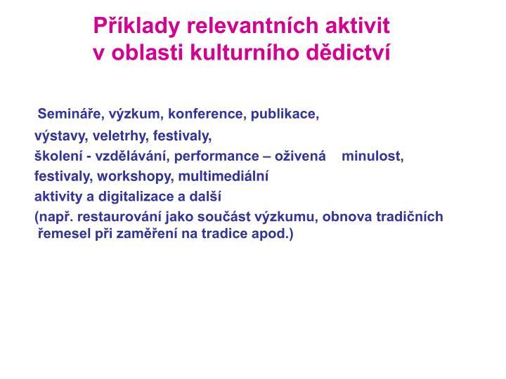 Příklady relevantních aktivit