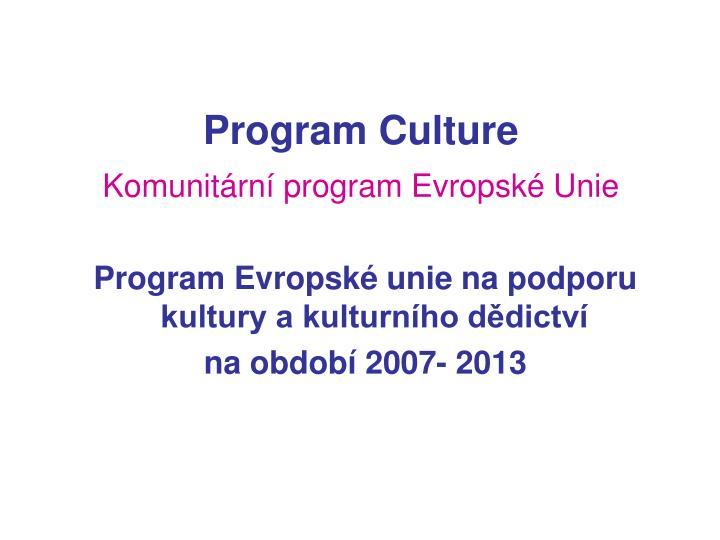 Program culture