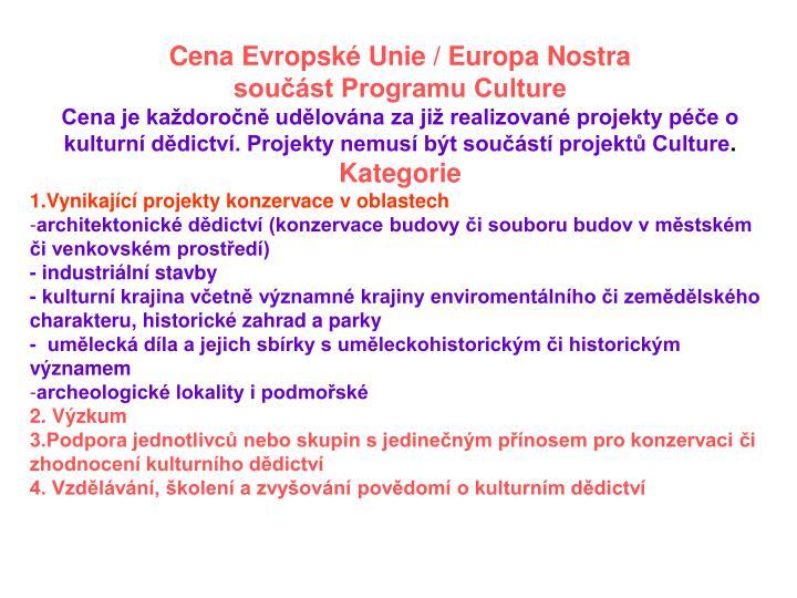 Cena Evropské Unie / Europa Nostra