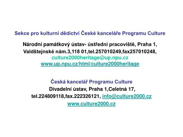 Sekce pro kulturní dědictví České kanceláře Programu Culture