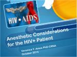 anesthetic considerations for the hiv patient