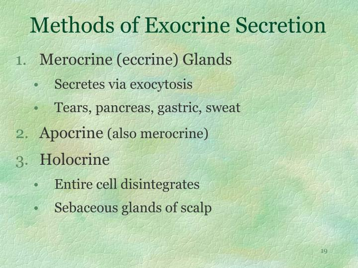 Methods of Exocrine Secretion