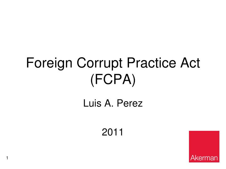 foreign corrupt practice act fcpa n.
