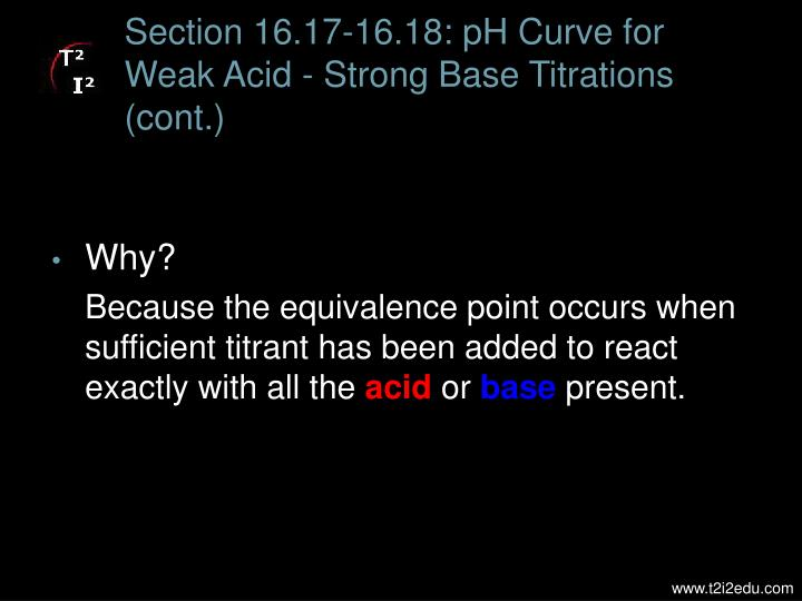 Section 16.17-16.18: pH Curve for Weak Acid - Strong Base Titrations (cont.)