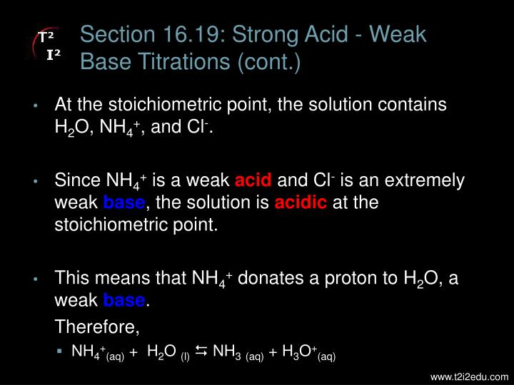 Section 16.19: Strong Acid - Weak Base Titrations (cont.)