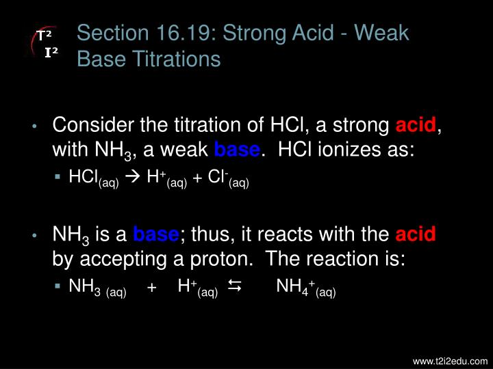 Section 16.19: Strong Acid - Weak Base Titrations