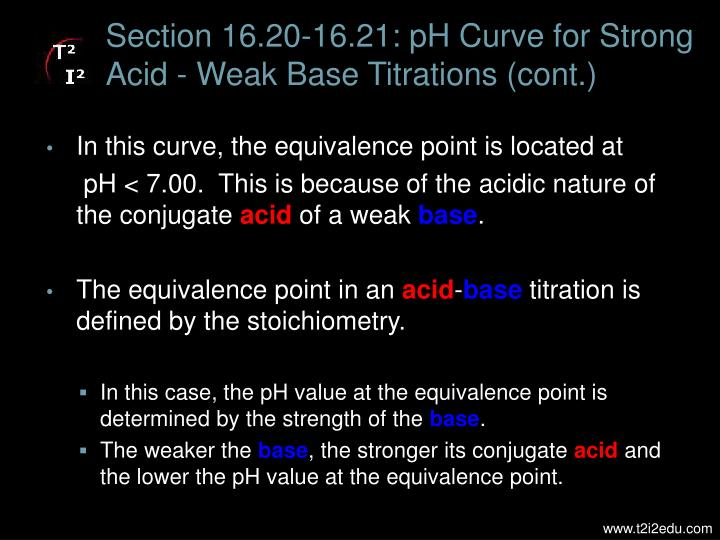 Section 16.20-16.21: pH Curve for Strong Acid - Weak Base Titrations (cont.)