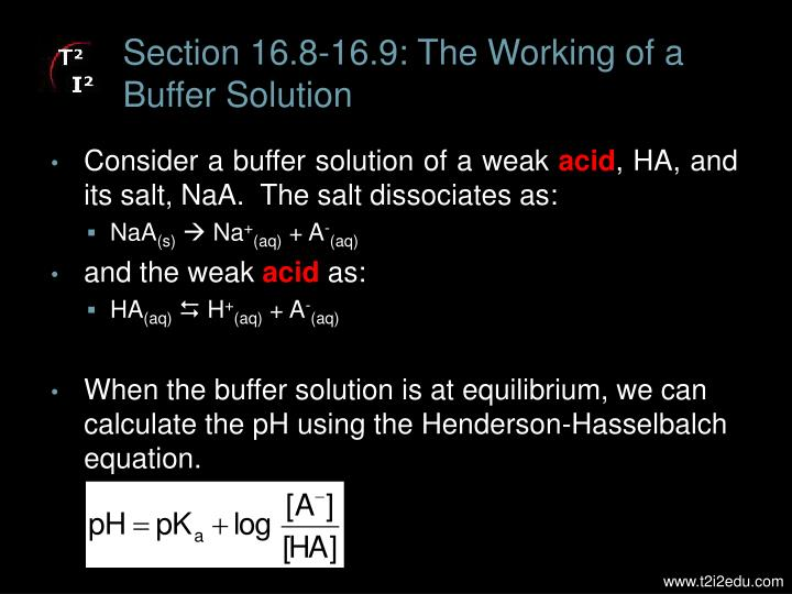 Section 16.8-16.9: The Working of a Buffer Solution