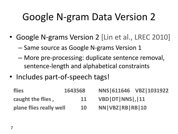 Google N-gram Data Version 2