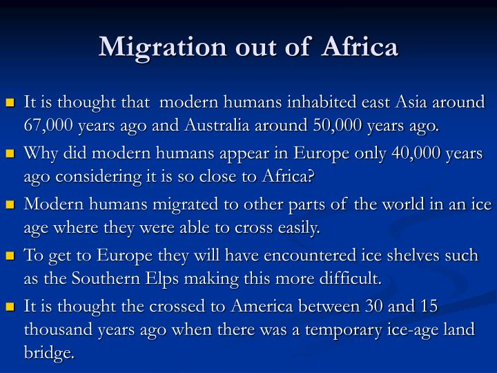 Migration out of Africa