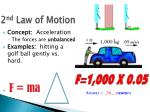 2 nd law of motion