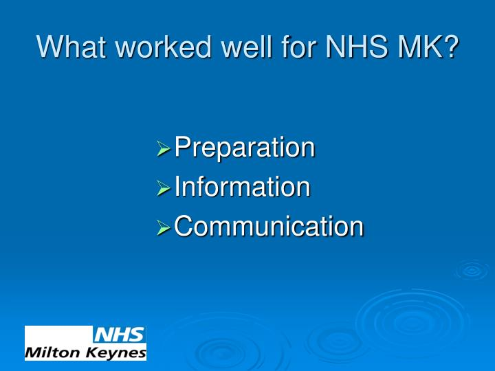 What worked well for nhs mk