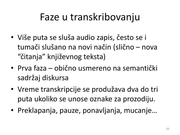 Faze u transkribovanju