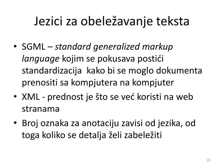 Jezici za obeležavanje teksta
