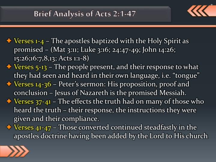 Brief Analysis of Acts 2:1-47