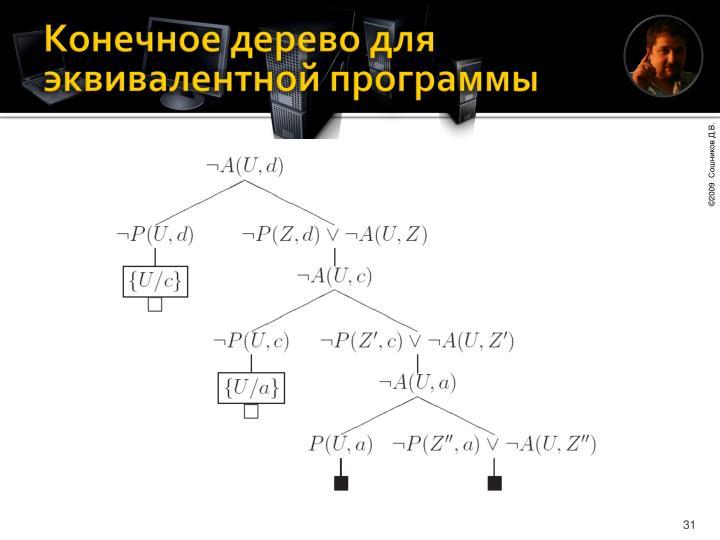Конечное дерево для эквивалентной программы