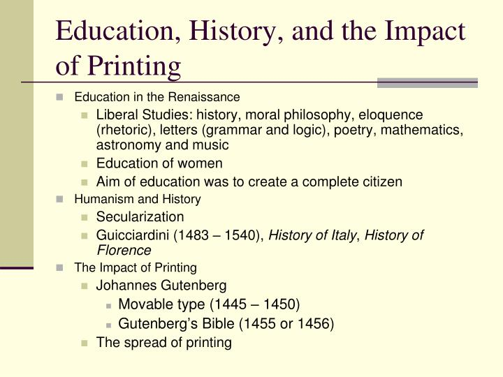 Education history and the impact of printing
