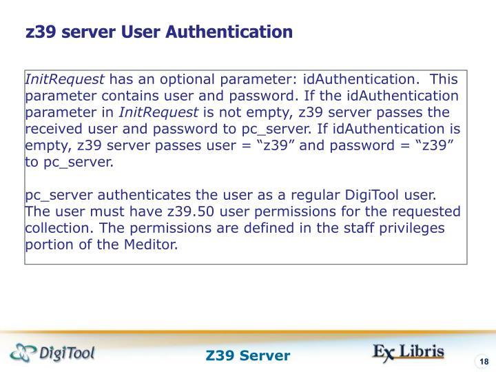 z39 server User Authentication