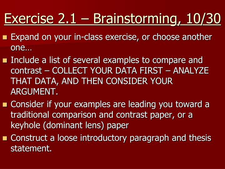 Exercise 2.1 – Brainstorming, 10/30